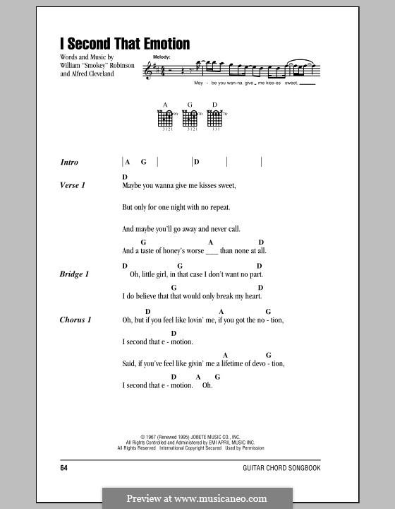 I Second That Emotion (Smokey Robinson & The Miracles): Letras e Acordes by Al Cleveland, Smokey Robinson