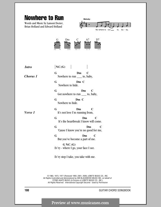 Nowhere to Run (Martha & The Vandellas): Letras e Acordes by Brian Holland, Edward Holland Jr., Lamont Dozier