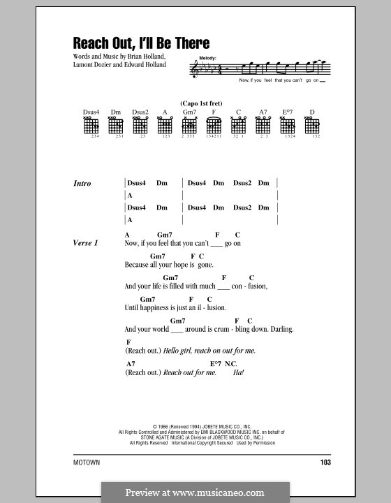 Reach Out, I'll Be There (The Four Tops): Letras e Acordes by Brian Holland, Edward Holland Jr., Lamont Dozier