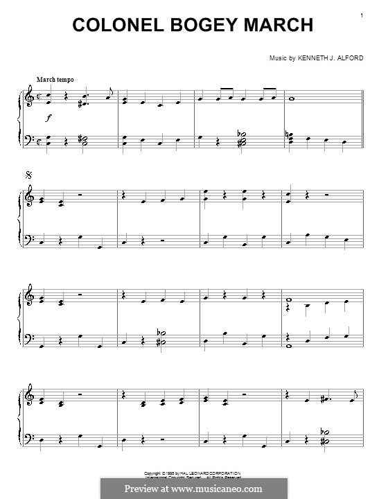 Colonel Bogey March: Para Piano by Kenneth J. Alford
