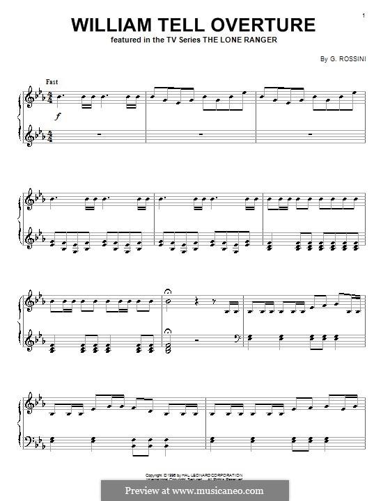 Overture (Printable Scores): Allegro vivace, for piano by Gioacchino Rossini