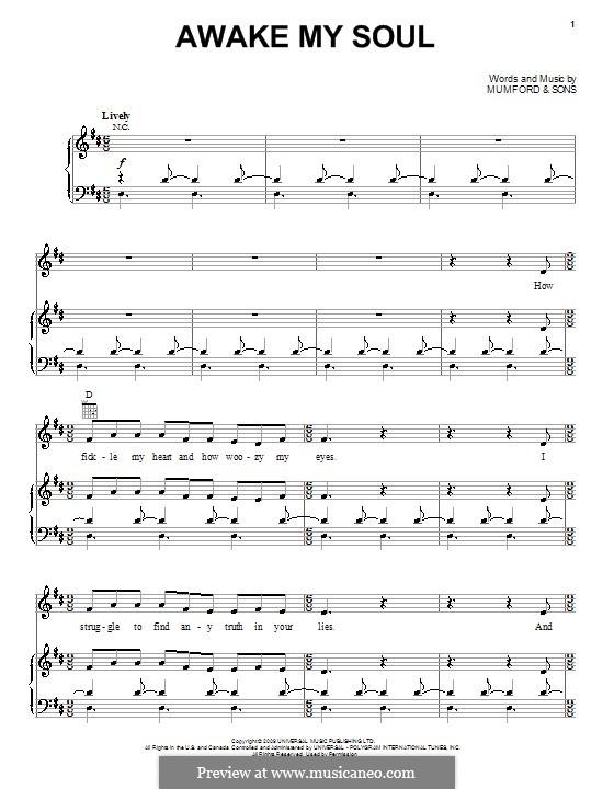 Awake My Soul (Mumford & Sons): Para vocais e piano (ou Guitarra) by Marcus Mumford