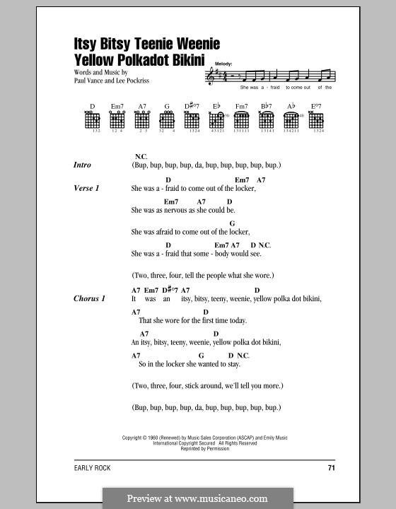 Itsy Bitsy Teenie Weenie Yellow Polka Dot Bikini: Letras e Acordes by Lee Pockriss, Paul J. Vance