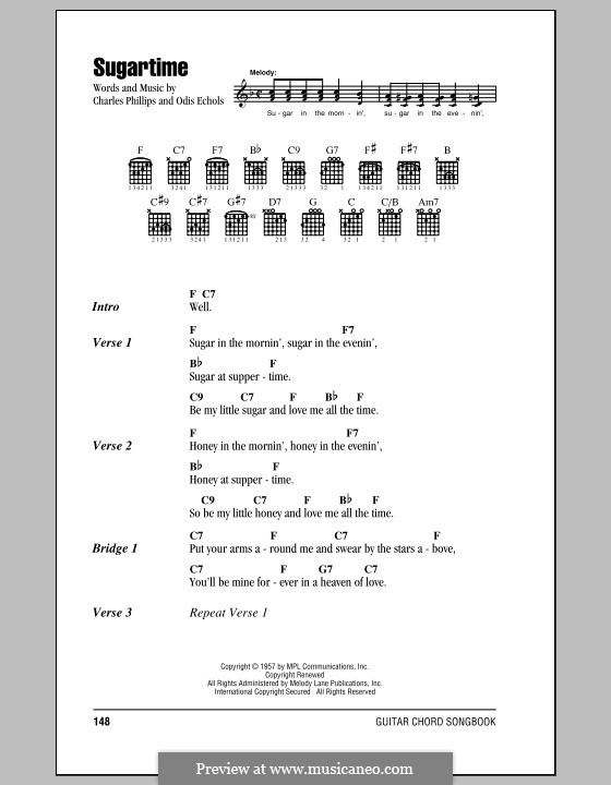 Sugartime: Lyrics and chords (McGuire Sisters) by Charlie Phillips, Odis Echols