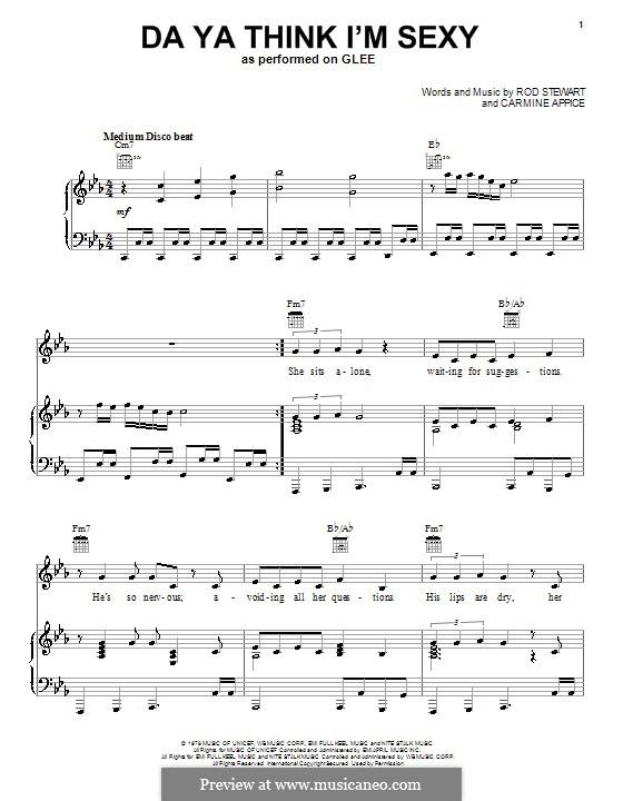 Da Ya Think I'm Sexy: Para voz e piano ou guitarra (Glee Cast) by Carmine Appice