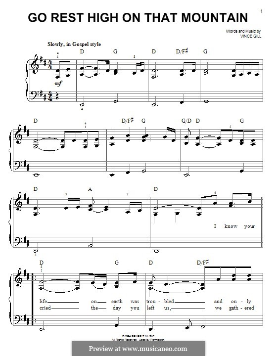 Go Rest High on That Mountain: Facil para o piano by Vince Gill
