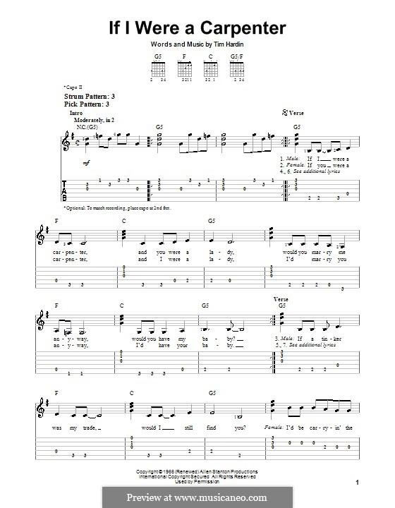 If I Were a Carpenter: Para guitarra (versão facil) by Tim Hardin