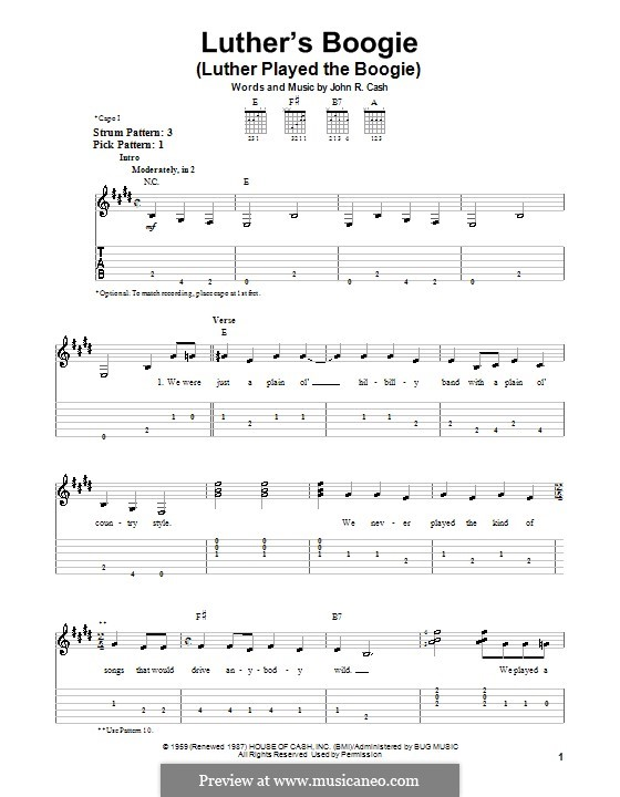 Luther's Boogie (Luther Played the Boogie): facil para guitarra by Johnny Cash