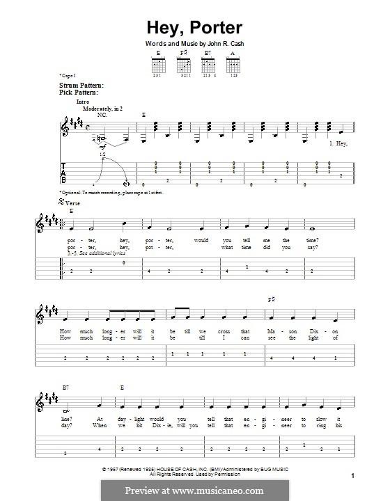 Hey, Porter: facil para guitarra by Johnny Cash