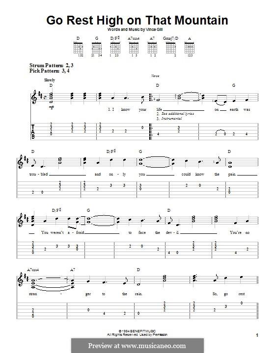 Go Rest High on That Mountain: Para guitarra (versão facil) by Vince Gill