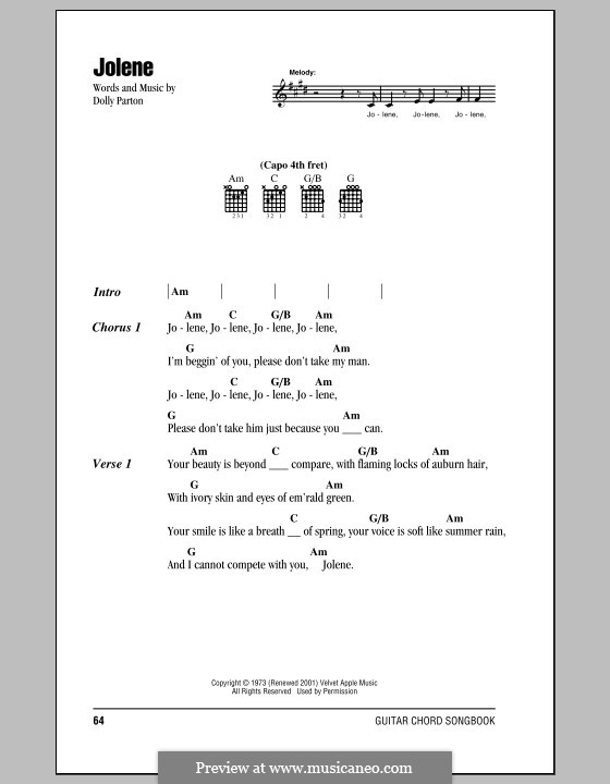 Jolene: Letras e Acordes by Dolly Parton