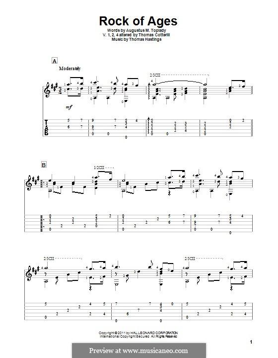 Rock of Ages: Para guitarra com guia by Thomas Hastings