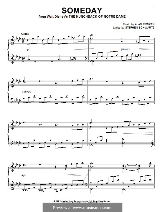 Someday (from Walt Disney's The Hunchback of Notre Dame): Para Piano by Alan Menken
