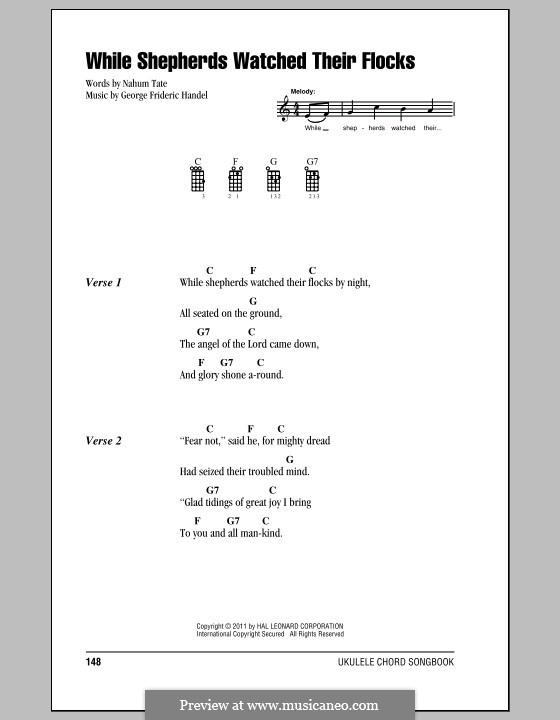 While Shepherds Watched Their Flocks: ukulele com parte dedilhada by Georg Friedrich Händel