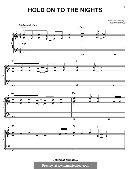 Hold on to the Nights: Facil para o piano by Richard Marx