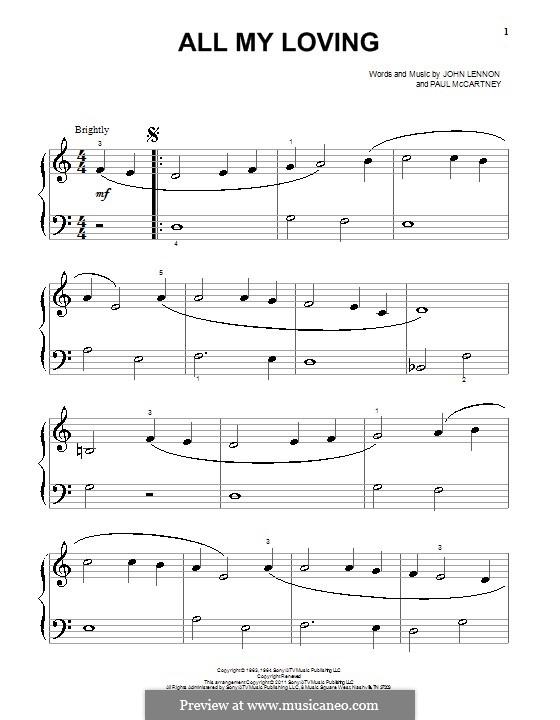 All My Loving (The Beatles): Para Piano by John Lennon, Paul McCartney