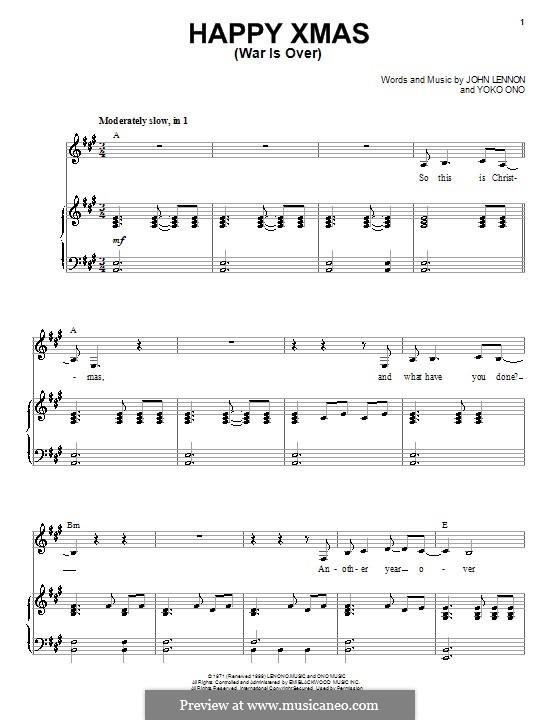 Happy Xmas (War Is Over): Para vocais e piano by John Lennon, Yoko Ono