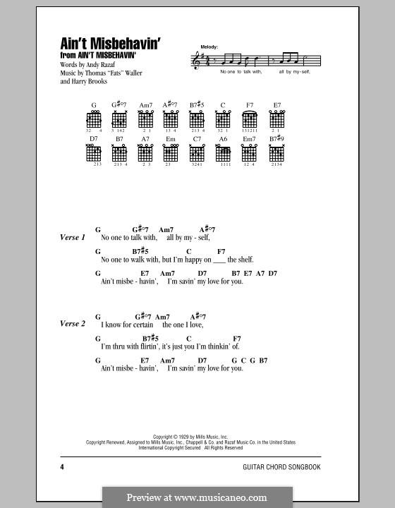 Ain't Misbehavin': Letras e Acordes by Fats Waller, Harry Brooks