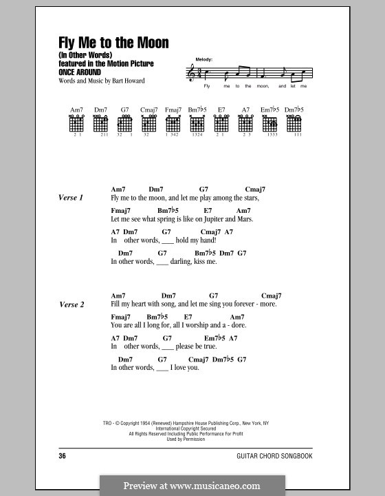 Fly Me to the Moon (In Other Words): Lyrics and chords (Frank Sinatra) by Bart Howard