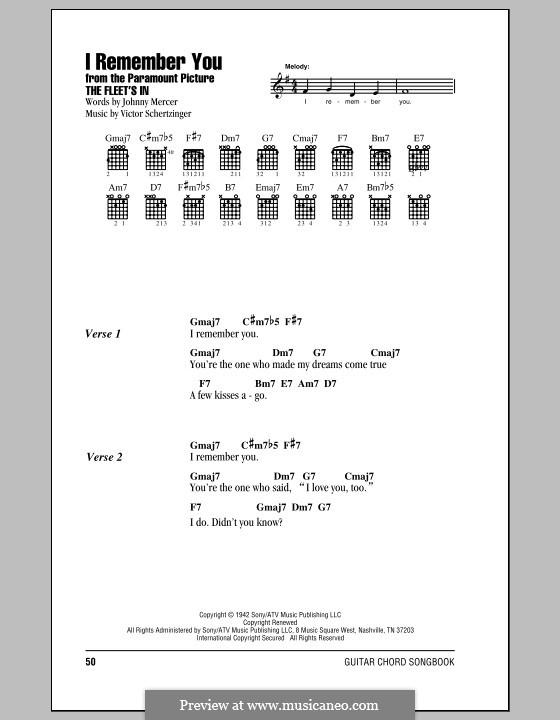 I Remember You (Diana Krall): Letras e Acordes by Victor Schertzinger