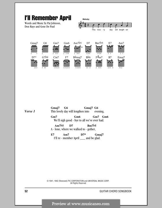 I'll Remember April (Woody Herman): Letras e Acordes by Don Raye, Gene de Paul, Patricia Johnson