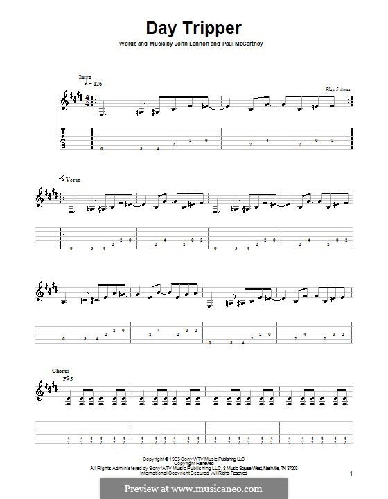 Day Tripper (The Beatles): Para guitarra (versão facil) by John Lennon, Paul McCartney