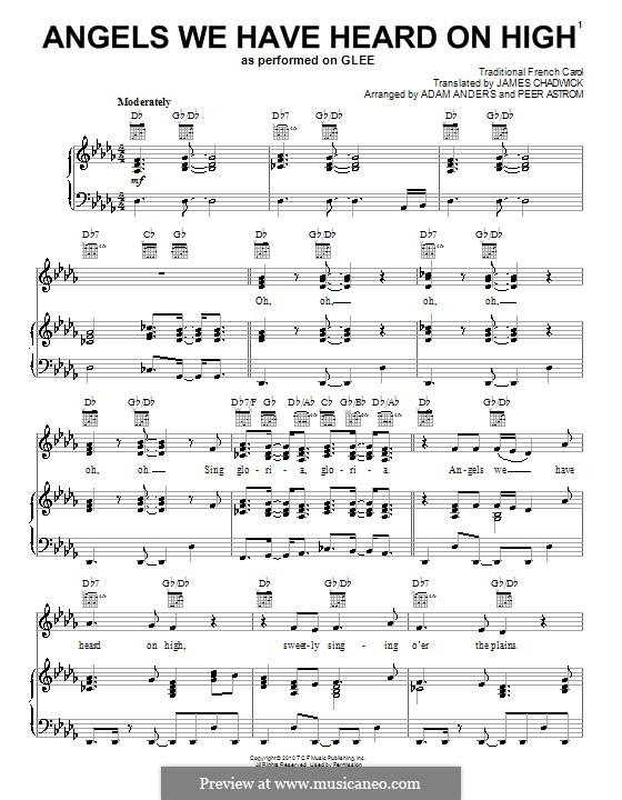 Angels We Have Heard on High: Para voz e piano ou guitarra (Glee Cast) by folklore