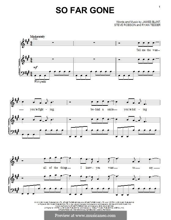 So Far Gone: Para vocais e piano (ou Guitarra) by James Blunt, Ryan B Tedder, Steve Robson