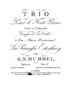 Piano Trio No.3 in F Major, Op.22: Piano Trio No.3 in F Major by Johann Nepomuk Hummel