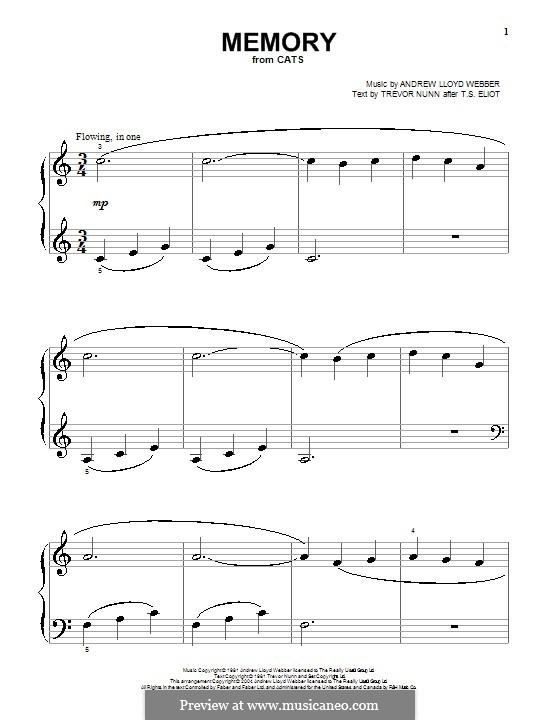 Memory (from Cats): Facil para o piano by Andrew Lloyd Webber