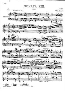 Sonata for Piano No.13 in B Flat Major, K.333: para dedilhado by Wolfgang Amadeus Mozart