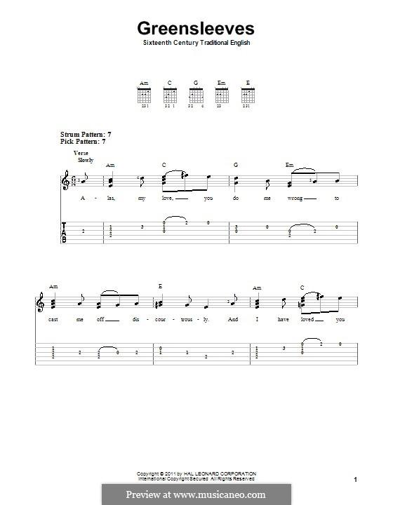 Greensleeves (Printable scores): facil Para guitarra com guia by folklore