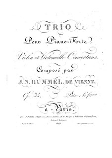 Piano Trio No.4 in G Major, Op.35: Piano Trio No.4 in G Major by Johann Nepomuk Hummel