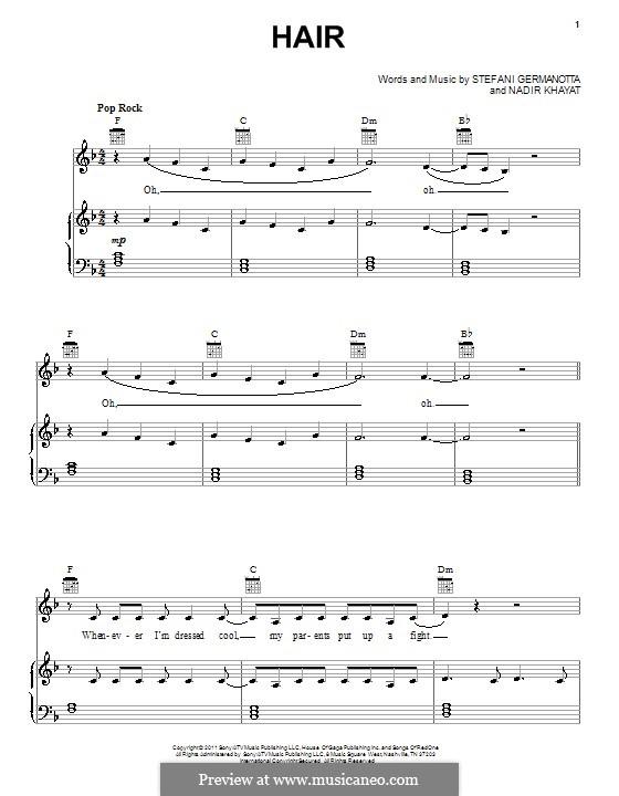 Hair (Lady Gaga): Para vocais e piano (ou Guitarra) by RedOne, Stefani Germanotta