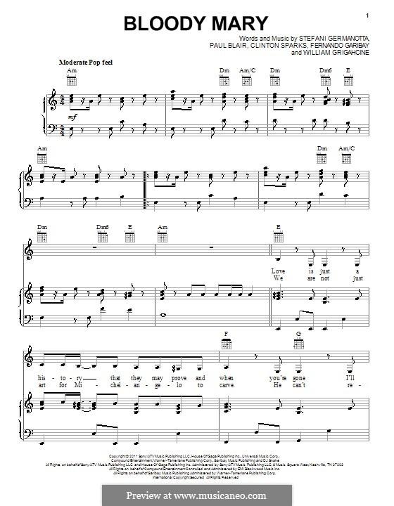 Bloody Mary (Lady Gaga): Para vocais e piano (ou Guitarra) by Clinton Sparks, Fernando Garibay, Paul Blair, Stefani Germanotta, William Grigahcine