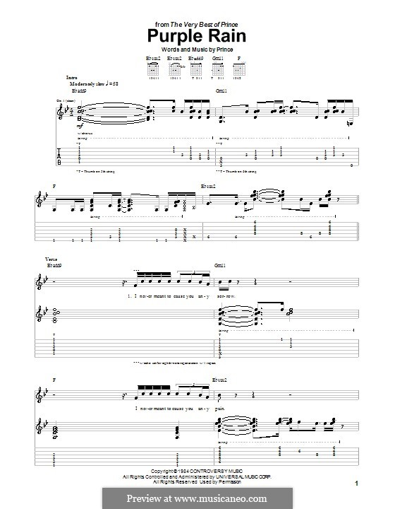 Purple Rain: Para guitarra com guia by Prince