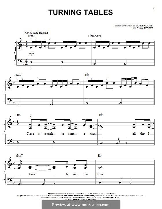 Turning Tables: facil para piano (com acordes) by Adele, Ryan B Tedder