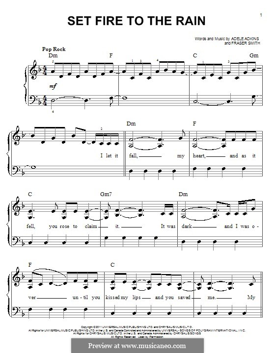 Set Fire to the Rain: facil para piano (com acordes) by Adele, Fraser T. Smith