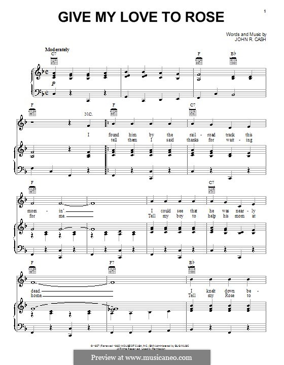 Give My Love to Rose: Para vocais e piano (ou Guitarra) by Johnny Cash