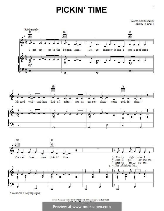 Pickin' Time: Para vocais e piano (ou Guitarra) by Johnny Cash