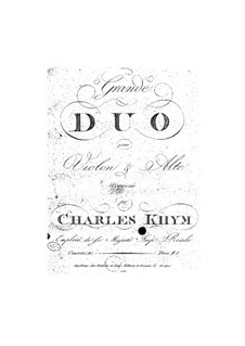 Grande Duo for Violin and Viola, Op.10: Grande Duo for Violin and Viola by Carl Khym
