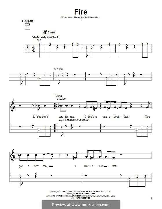Fire: para ukulele by Jimi Hendrix