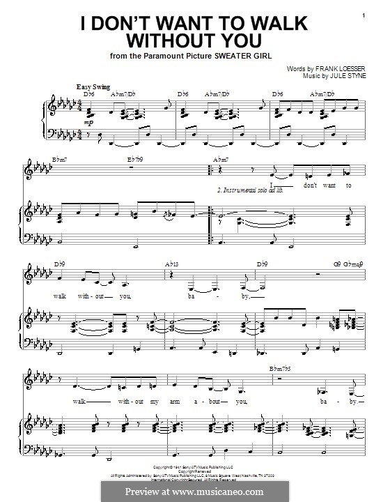 I Don't Want to Walk without You: Para vocais e piano by Jule Styne