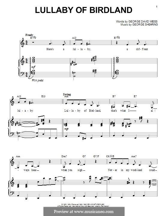 Lullaby of Birdland (Ella  Fitzgerald): Para vocais e piano by George Shearing