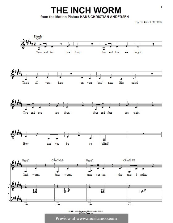 The Inch Worm (Paul McCartney): Para vocais e piano by Frank Loesser