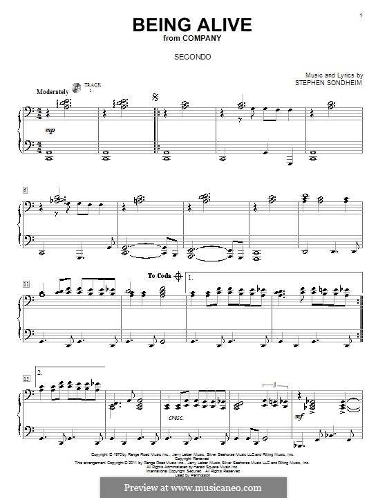 Being Alive (from Company): para piano de quadro mãos by Stephen Sondheim