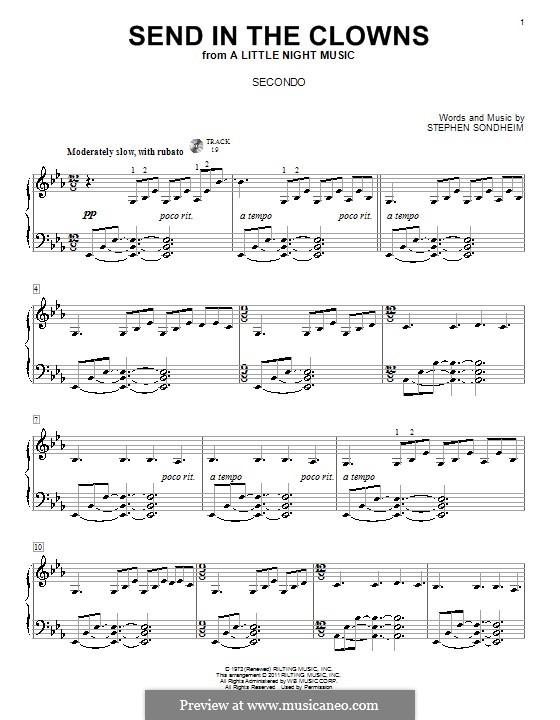 Send in the Clowns (from A Little Night Music): para piano de quadro mãos by Stephen Sondheim