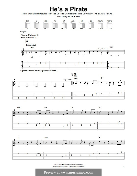 He's a Pirate (from Pirates of the Caribbean: The Curse of the Black Pearl): Para guitarra (versão facil) by Klaus Badelt