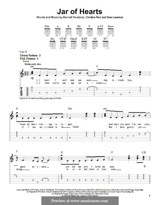 Jar of Hearts: Easy guitar tablature by Barrett Yeretsian, Christina Perri, Drew Lawrence