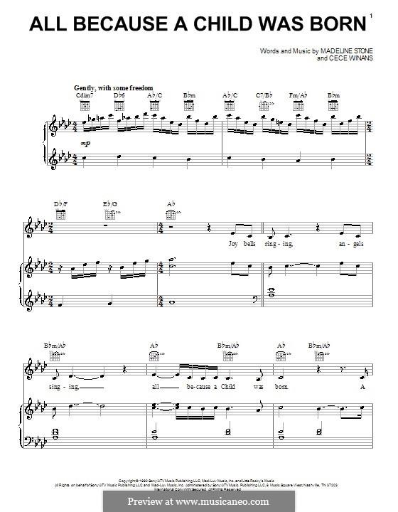 All Because a Child Was Born (BeBe & CeCe Winans): Para vocais e piano (ou Guitarra) by CeCe Winans, Madeline Stone
